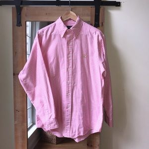 Brooks Brothers pink Gingham oxford button down